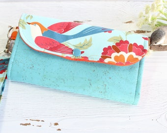 Flying Bird floral Womens wallet, Wristlet womans wallet, cork fabric wallet, Clutch phone wallet, Accordion handmade wallet Gifts for women