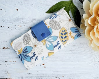 Blue wild floral woman's wallet, slim bifold wallet, clutch fabric wallet, handmade womens wallet, credit card wallet, checkbook wallet