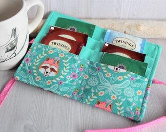 Woodland Raccoon print womens tea wallet, Tea pouch wallet, Tea bag holder, organizer for teas, handmade fabric tea storage