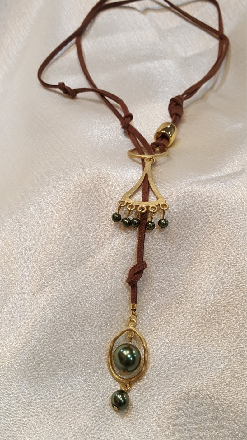Brown Swede Necklace With Gold Dangles