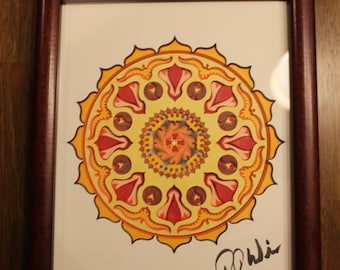 "3D Mandala Paper Sculpture, Star Pattern with Birds, Vibrant & Warm color scheme, 8""x10"", Framed"
