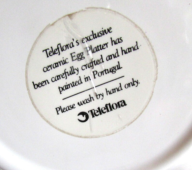 Vintage Ceramic Chicken Deviled Egg Platter Dip Plate Tray Teleflora 13x11.5 FREE SH