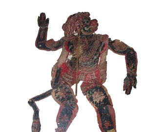 1900s ORIGINAL TRIBAL Shadow Puppet Historical Rare Piece Of Monkey Folk Style India Antique Marionette.