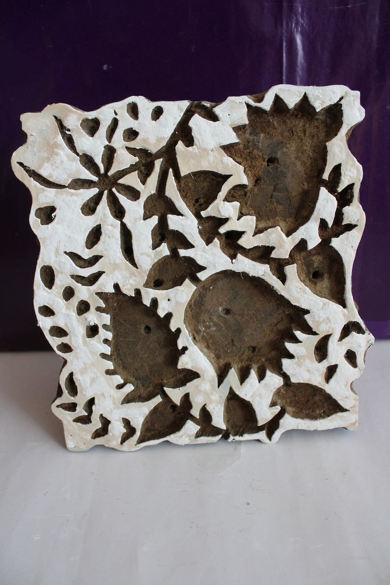 Wooden Stamp Block Printing Design Hand Curved Fabric Dyi