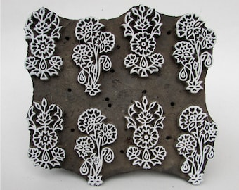 Vintage Indian wooden hand carved textile printing fabric block / stamp Different design pattern