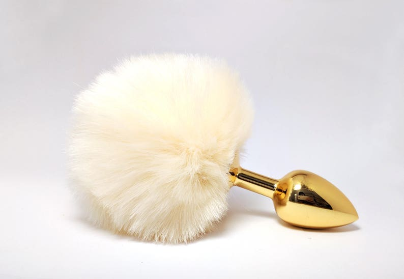 58541009707 Gold butt plug Adult toys Ivory bunny tail butt plug