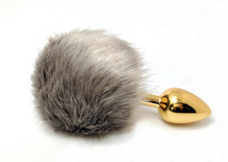 cbdd161b81f Gray bunny tail butt plug Small butt plug Large gold butt