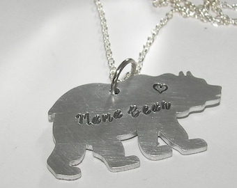 Mama bear necklace, personalized jewelry for mom, hand stamped jewelry, custom stamped gift for mom, handstamped jewelry