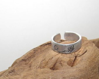 Butterflies Inspirational Ring, Nature Inspirational Ring ,Personalized Silver Hand Stamped Ring, Aluminum Hand Stamped Ring