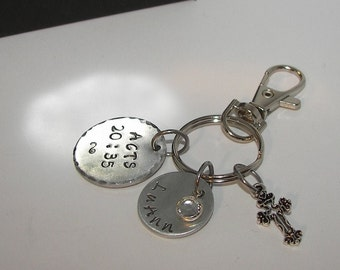 Acts 20:35 custom hand stamped key ring with verse , personalized key ring,  hand stamped jewerly , custom stamped, handstamped jewelry