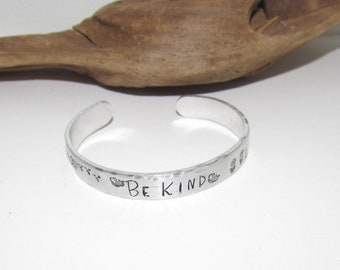 Pewter  Be kind affirmation cuff bracelet,  bridesmaid gifts, best friend gift, personalized bracelet for her, handstamped jewelry