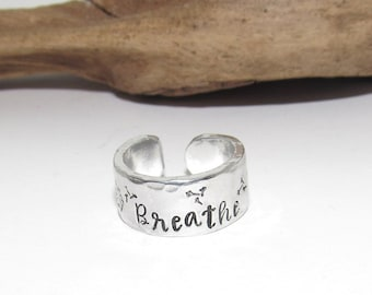 Sterling silver Dandelion breath adjustable stamped ring, inspiration rings, adjustable silver ring, stamped jewelry, Personalized boho ring