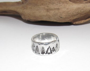 Sterling silver Trees Inspirational Ring, Nature Inspirational Ring, Personalized Hand Stamped Ring,  Forest Aluminum Hand Stamped Ring