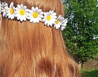 White Daisy Flower Crown, Bohemian Floral Crown, Floral Crown, Flower Crown, Flower Headband, Mother's Day, Bridesmaid Gift