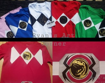 1d25a1b4a34 Redesigned Power Ranger Party Shirts   All Sizes   with or W O Morpher Belt    Adult Tshirt Kid Birthday Shirt   Great Cosplay tees