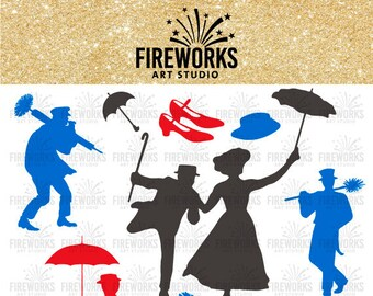 Mary poppins svg - mary poppins silhouette - mary poppins characters - svg eps dfx png jpg - Files for Electronic cutting Machines