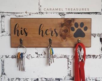 rustic wall key hanger dog lover gift housewarming gift couple gifts birthday gift  his hers dog key holder wood artwork dog leash hook