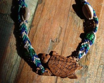 Turtle totem hand carved wood necklace
