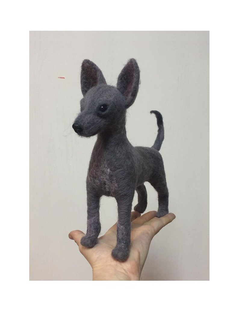 \u0425oloitzcuintle needle felted Dog sculpture Mexiczn hairless dog  in needle felting technique from wool handmade holoitzcuintli OAAK toy