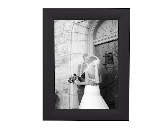 Craig Frames 26273 11x17 Black Satin Picture Frame Matted to Display 8x12 Photo