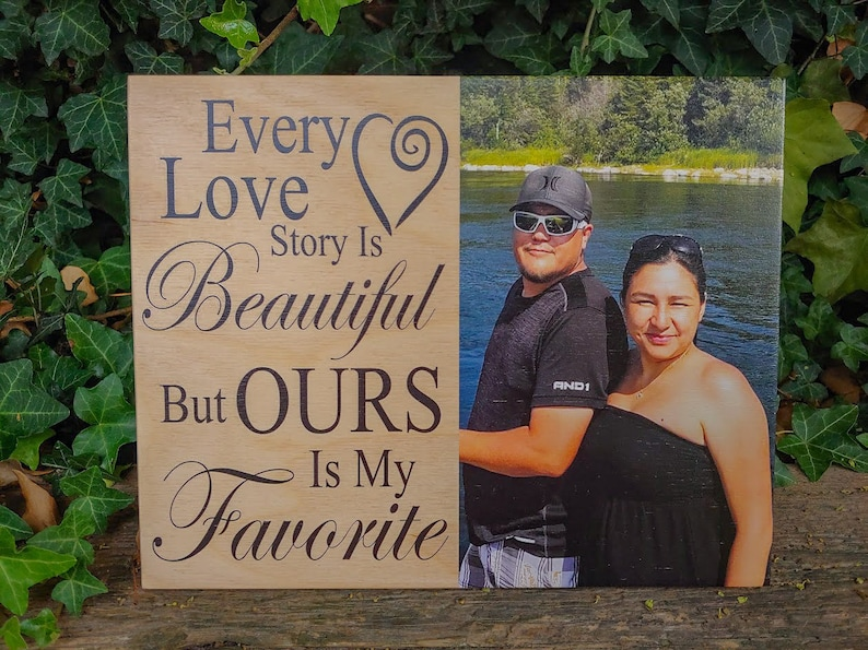 Personalized Photo On Wood Wood Wall Home Decor Every Love Story Is Beautiful Wood Picture Photo Gift Custom Photo Prints