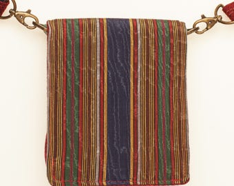Small Bag Messenger Crossbody Shoulder Burgungy Red Blue Green Boho Moiree Moire Silk Tweed FREE Shipping