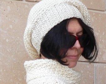 Slouchy Beret Beanie Women Hat Cream White Alpaca Wool Handknit #026D