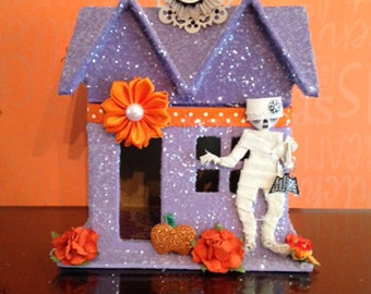 Haunted House, Halloween Glitter House, Paper Mache House, Putz House, Halloween Decoration, Halloween Decor, Miniature House, Halloween