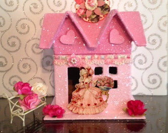 Glitter House, Valentine Glitter House, Valentine Decor, Pink Glitter House, Putz House, Paper Mache House, Vintage Style Tag, Miniatures