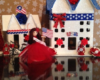 Glitter House, Fourth of July Glitter House, Patriotic Glitter House, Americana, Putz House, Paper Mache House, Miniature House, Miniatures