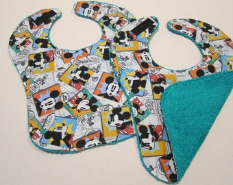 Cool Drool Bibs (Set of 2) featuring Comic Book Mickey