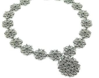 Collar Necklace/Satellite Necklace/Vintage Style Necklace/Mandala/Antique Style Necklace/Handmade Necklace/Floral Necklace/Bridal Collar