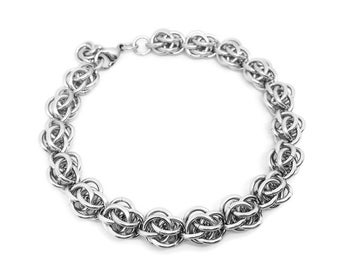 Steel Anniversary Gift, 11th Anniversary for Her, Stainless Steel Chainmaille Hypoallergenic Bracelet