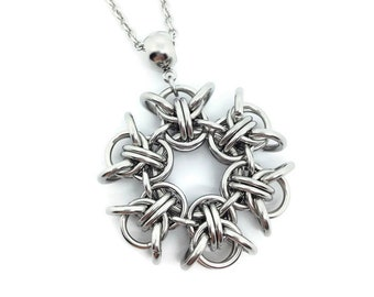 Snowflake Pendant/Stainless Steel Pendant/Pendant and Chain/Pendant Necklace/Chainmail Pendant/Pixie Snowflake