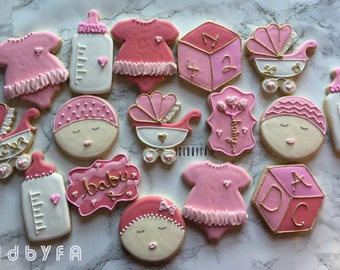 18pc Baby Shower Cookies  Sugar Cookies  Baby Girls baby Shower