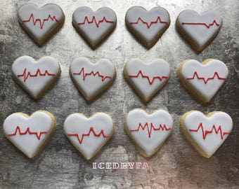 EKG Hearts Sugar Cookies | Perfect for gift giving or Valentine's Day