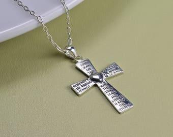 Sterling Silver, serenity prayer cross pendant necklace, everyday wear,