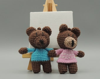 Bear keyring, crochet teddy bear keyring, keyring bear, small bear, amigurumi crochet bear, bear amigurumi, lucky charm, keychain, gift