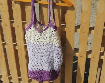 Crochet shopping bag, marker bag, crochet bag, beach bag, summer bag, big bag, tote bag, multicolored  bag, flower pattern, going green,gift