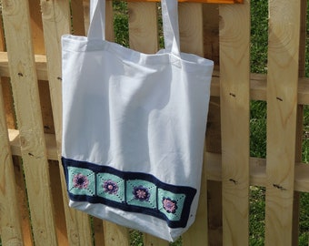 Tote bag with crochet applique, large shopping tote bag,tote bag with flower, going green, carry-all bag, shopping bag, tote bag,library bag