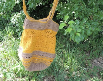 Unique hemp bag, earth tones bag, eco-friendly bag, reusable bag, crocheted hemp bag, natural bag, mesh bag, crochet bag without waste, gift