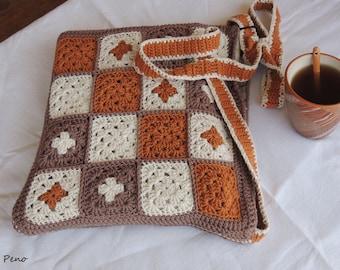 Crochet bag -  Grany-square-style, crochet handmade bag, handmade tote bag, crochet shoulder bag, tote bag, gift for girlfrend, Grany square