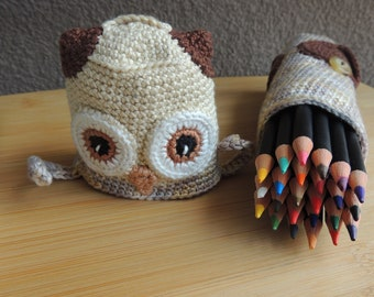 Brown owl pencil case, pencil case, animal case, children case,toy for schoolchild, back to school, gift,  animal lover gift, purse as gift