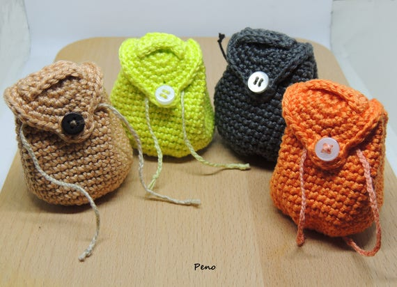 Mini Backpack Keychain Crochet Mini Backpack Keychain Etsy