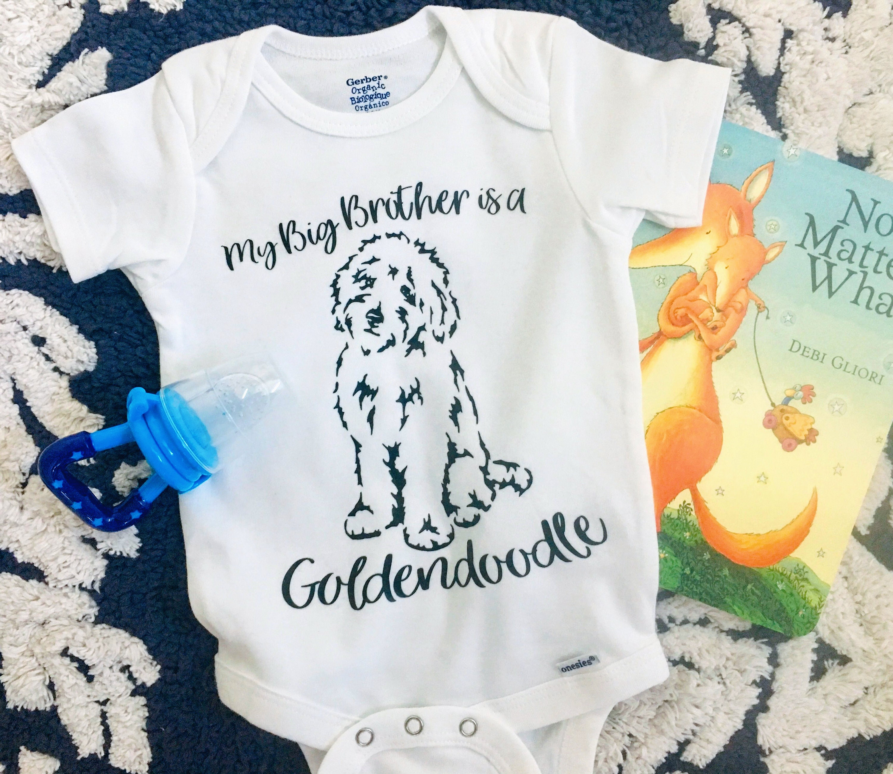 960d6adb8 Goldendoodle Big Brother and Sister White Cotton Onesie