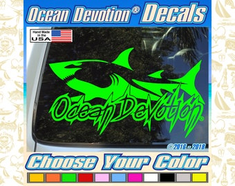 """Sea Life Truck Paddle Boarder with Dog V3 /""""Ocean Devotion/®/"""" Vinyl Decal//Sticker 8w x 5h inches Automobile Fishing Keywords.. Car Reel Life Beach Life Boat Surf Surfing Window Salt Life"""