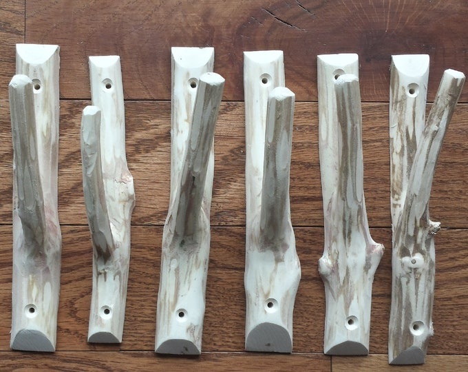 Tree branch wall hooks