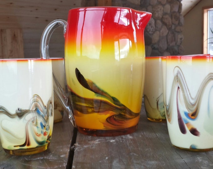 Vintage Art Glass pitcher and tumbler set