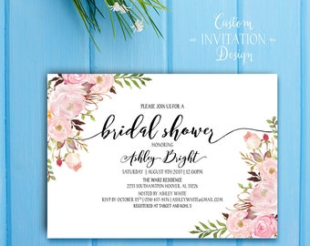 Floral Boho Bridal Shower Invitation. Printable Bridal Shower Invitation. Boho Digital Invitation. Bohemia Bridal Shower Invitation