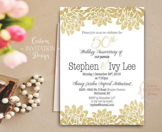 Aniversario De Boda De Oro Invitación De Saludos A 50 Años Invitación Del 50 Aniversario Brillo De Oro 50 Aniversario Decoraciones De Aniversario